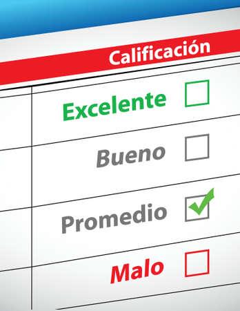 feedback: feedback selection concept in Spanish illustration design Illustration