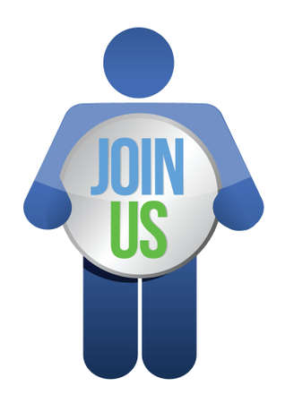 participate: man, person with a button  Join us. Businessman illustration Illustration