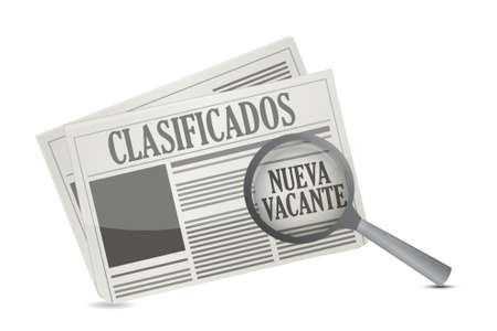 folded hands: job opportunity on a Newspaper in Spanish illustration design over a white background