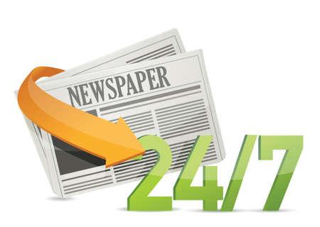 hrs: 24 7 news, newspaper concept illustration design