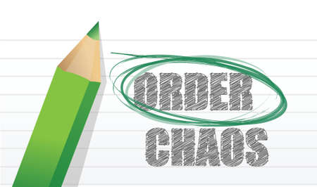 disoriented: selecting between order and chaos illustration design over white