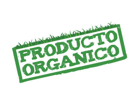 pesticide free: Organic Product sign in Spanish isolated in white. Illustration
