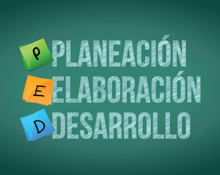 planning, creation and development in Spanish presentation board Stock Vector - 18158900