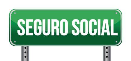 s�curit� sociale: signe de la s�curit� sociale dans la conception illustration espagnol sur blanc