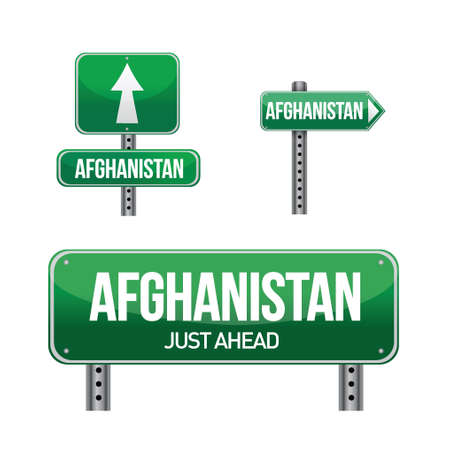 afghanistan Country road sign illustration design over white Stock Vector - 18158833