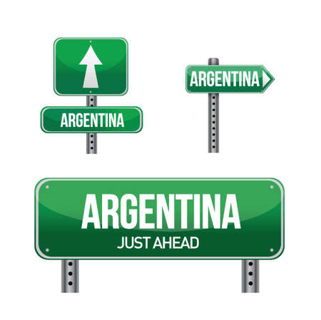 argentina Country road sign illustration design over white Vector