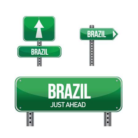 new direction: brazil Country road sign illustration design over white