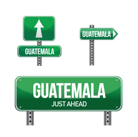 guatemala: guatemala Country road sign illustration design over white
