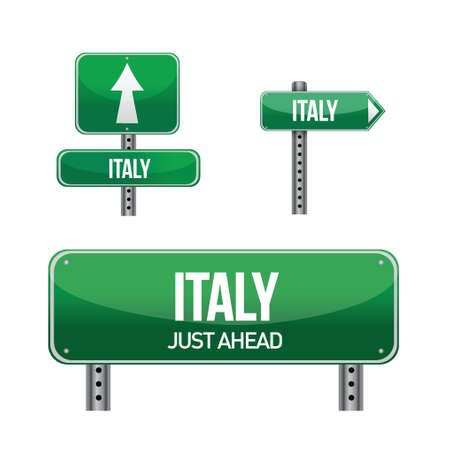 italy Country road sign illustration design over white Illustration