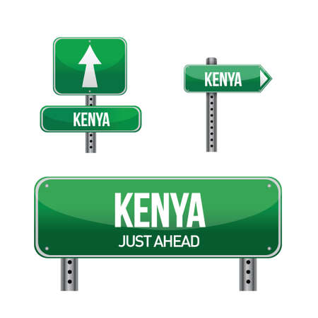 kenya: kenya Country road sign illustration design over white Illustration