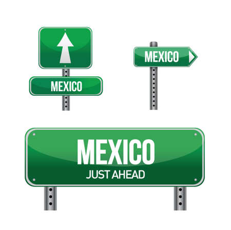 mexico Country road sign illustration design over white Stock Vector - 18161842