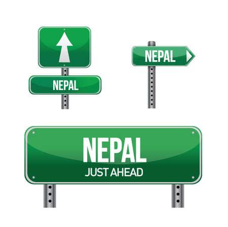 nepal Country road sign illustration design over white Иллюстрация