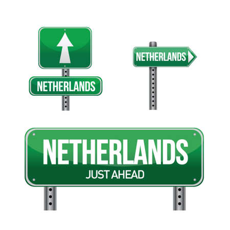 Netherlands Country road sign illustration design over white