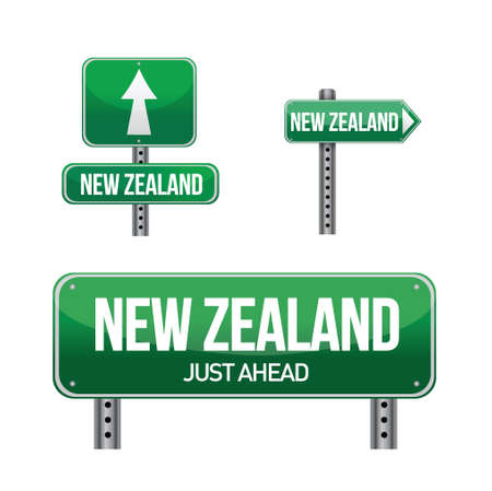 new zealand word: new zealand Country road sign illustration design over white Illustration