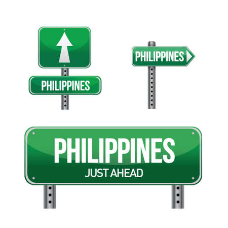 philippines Country road sign illustration design over white