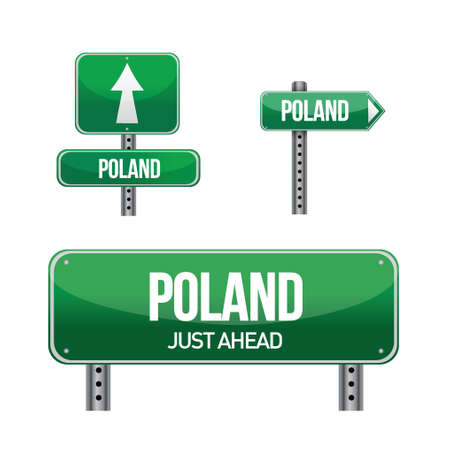 poland Country road sign illustration design over white