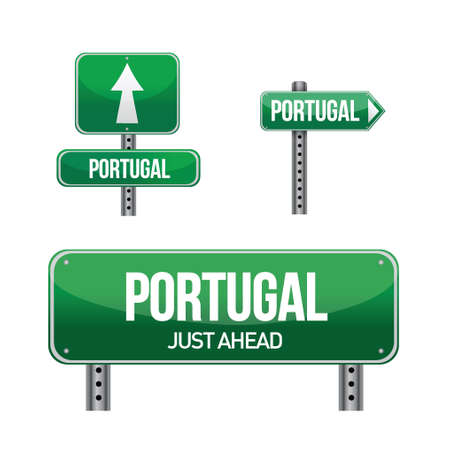 portugal Country road sign illustration design over white 向量圖像
