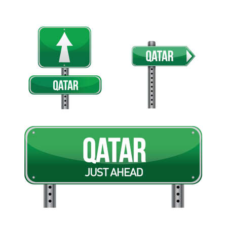 qatar: qatar Country road sign illustration design over white