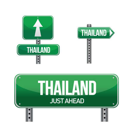 thailand Country road sign illustration design over white