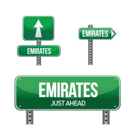 아랍 에미리트 연방 흰색 위에 국가 도로 표지판 그림 디자인 일러스트