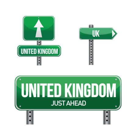 united kingdom Country road sign illustration design over white Vectores
