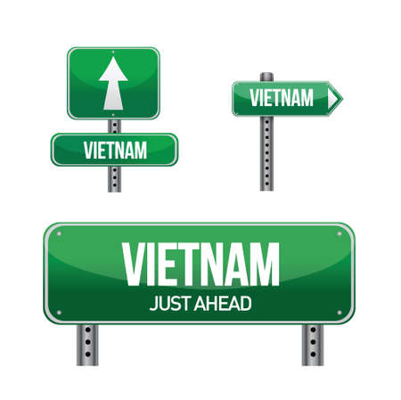 vietnam Country road sign illustration design over white