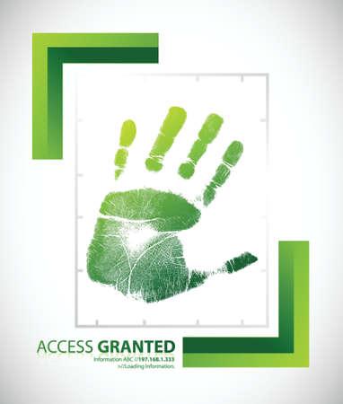 toegangscontrole: Biometrische palm scannen scherm met toegang verleend tekst illustratie ontwerp