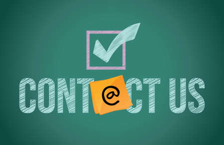email icon: contact us and button illustration design written on blackboard