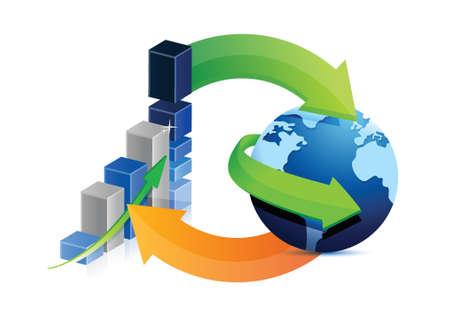 흰색 배경 위에 비즈니스 그래프와 글로브 사이클 그림 디자인