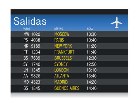 departure: Airport time Departure table in spanish illustration design over white Illustration