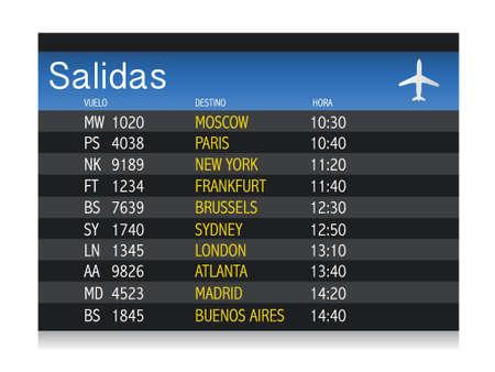 flight board: Airport time Departure table in spanish illustration design over white Illustration