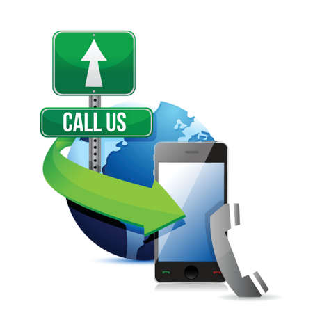 chatbox: contact us, call or mail. illustration design over a white background Illustration