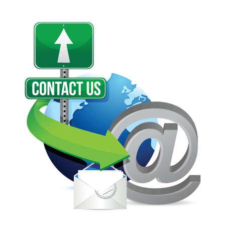 contact info: contattarci, design illustrazione su uno sfondo bianco