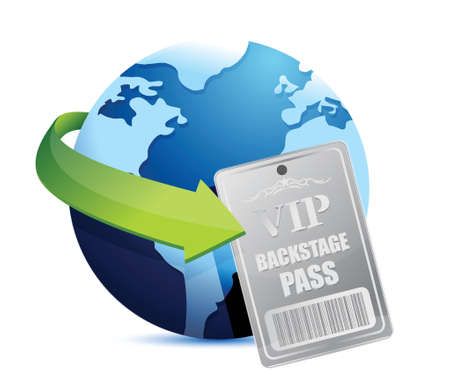 exclusive: international global Backstage pass vip illustration design over white