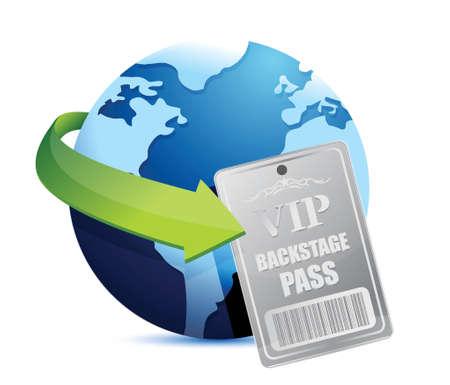 international global Backstage pass vip illustration design over white