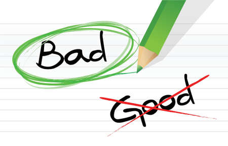 good vs bad illustration design graphic over a notepad paper Stock Illustratie