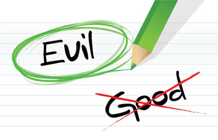 good vs evil illustration design graphic over a notepad paper