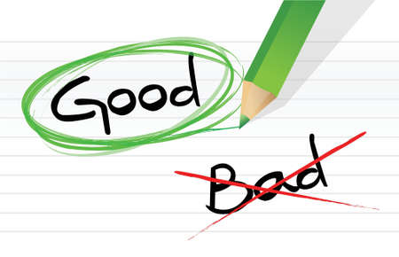 good vs bad illustration design graphic over a notepad paper Çizim