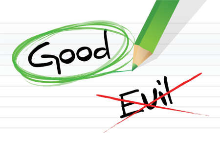 good: good vs evil illustration design graphic over a notepad paper