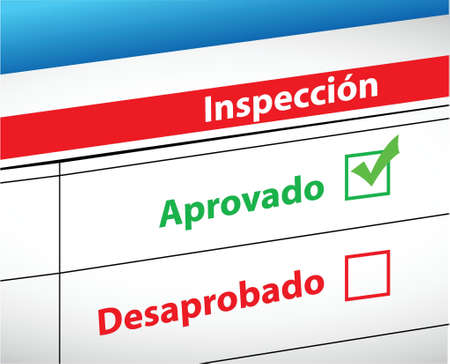 tickbox: Inspection Results passed and fail selection in Spanish illustration Illustration