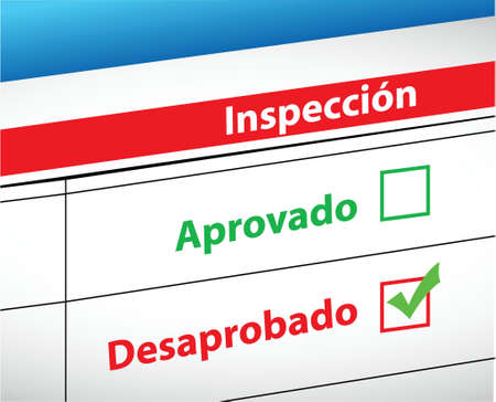 Inspection Results passed and fail selection in Spanish illustration 向量圖像