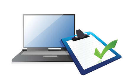 opinion poll: laptop and clipboard with checkmark illustration design over white