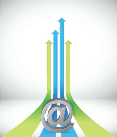 Arrow internet subiendo hacia el diseño mismo éxito dirección ilustración del concepto Ilustración de vector