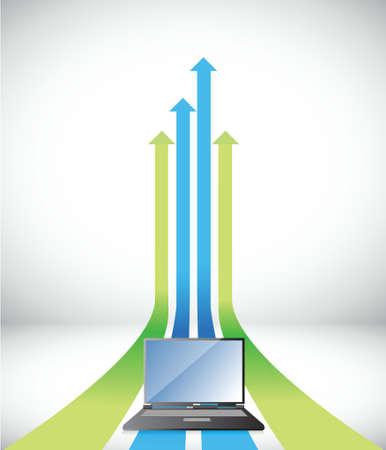 laptop Arrow rising toward same direction success concept illustration design