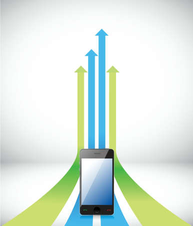 pointing arrows: phone Arrow rising toward same direction success concept illustration design