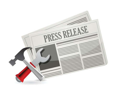 newspaper articles: tools new press release illustration design over white Illustration