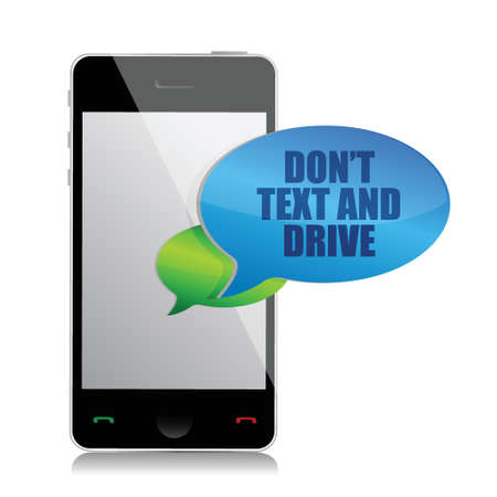 jeopardizing: do not text and drive cell bubble message isolated over white Illustration