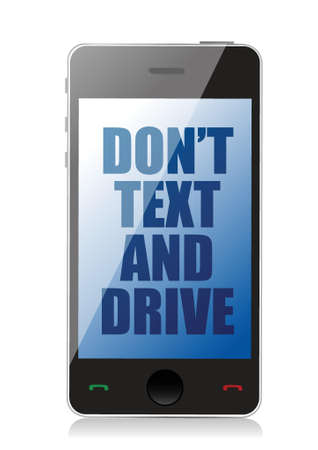 jeopardizing: do not text and drive cell message isolated over white