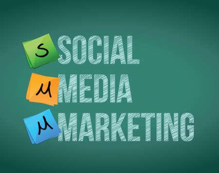 social media marketing: medios de comunicaci�n de mercadeo social y los mensajes en una pizarra Vectores