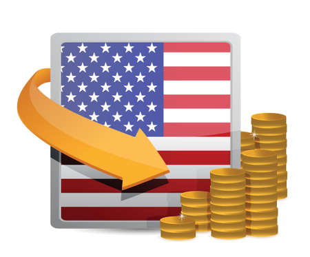 us currency: Us currency and flag illustration design over white